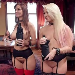 Blonde and Milf sharing cock at bdsm party